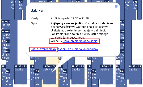 Kalendarz Zdrowia Sprawdzanie szczegółów wydarzenia